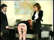 Finally he gives his wife's boss a taste of the cane - big bottom girls caned