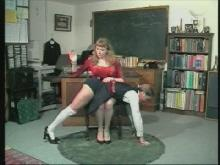 She spanks each girl in turn - they know they have been demoted to the fourth
