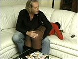 He positions her for an otk spanking