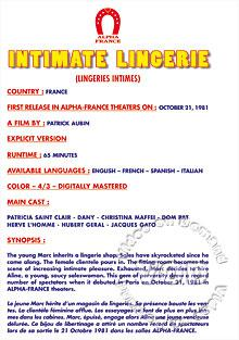 Intimate Lingerie (French Language)