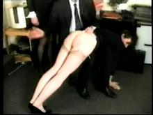 He spanks straps and canes the boss - as big bottom girls caned