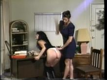 One employee brought down to earth with a well deserved bare bottom spanking