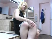 The start of a playful spanking