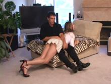 The start of a long spanking - a battle of wills